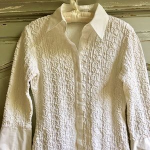 ANNE FONTAINE Paris White Ruched Classic Shirt 40